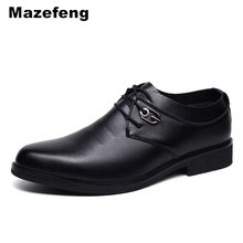 hot deal buy mazefeng men leather casual shoes round toe men dress shoes business lace-up high quality male split leather shoes men flats