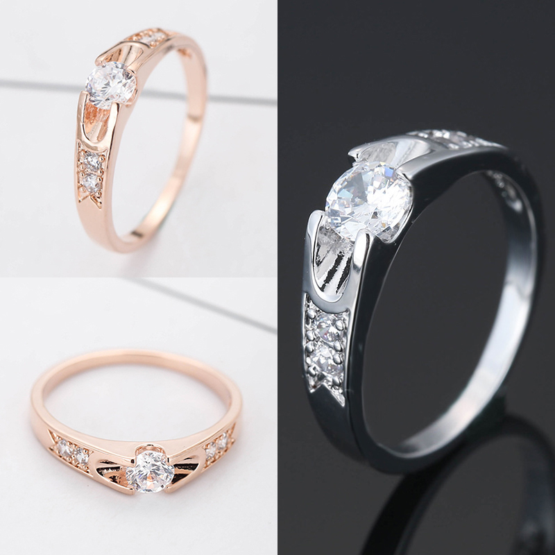 Bridal Wedding Jewelry Ring Elegant Crystal Silver Rose Gold Design Openwork Ring Chain for women girls Fashion female Jewelry in Wedding Bands from Jewelry Accessories