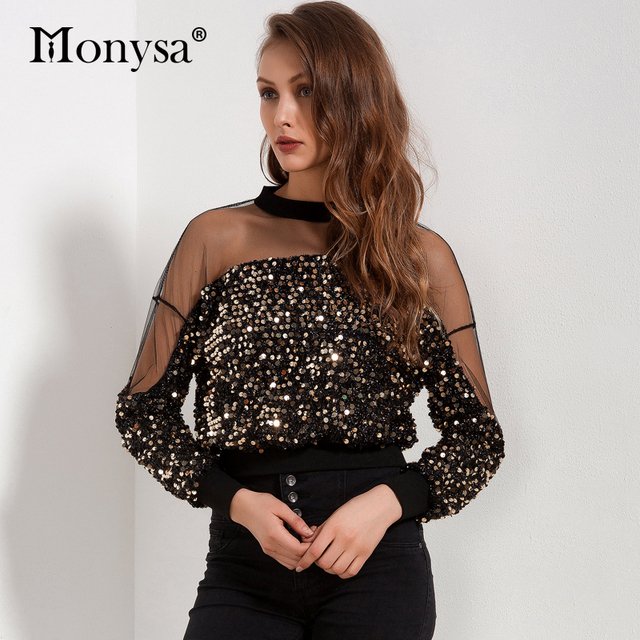 Sequin Top Women 2018 Autumn New Arrivals Fashion Long Sleeve Mesh Patchwork Blouses Ladies Hollow Out Crop Tops Streetwear