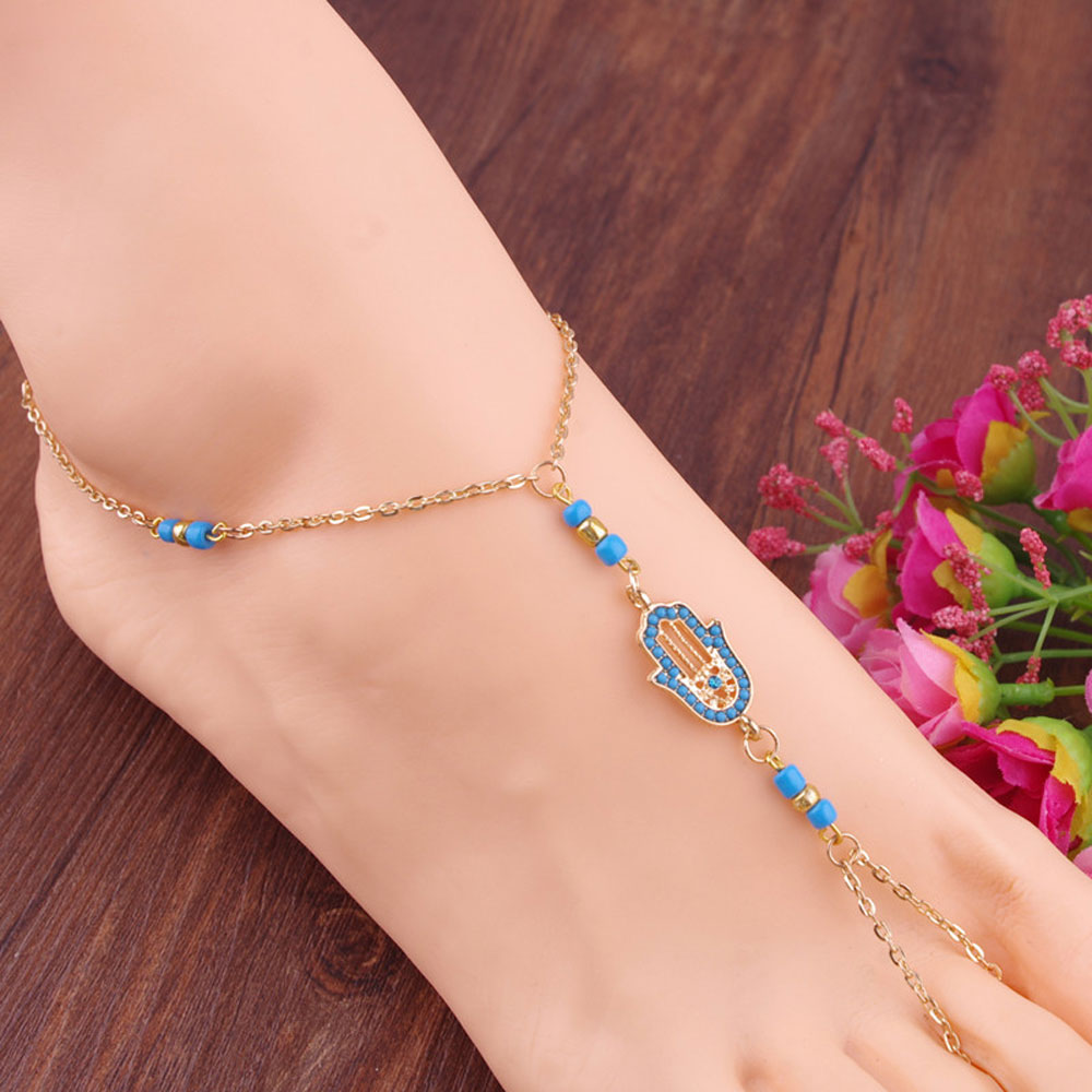 Gold toe rings for women - 2017 New 1piece Gold Fatima Anklet Toe Ring Slave Chain Hand Harness Design Jewelry Gift