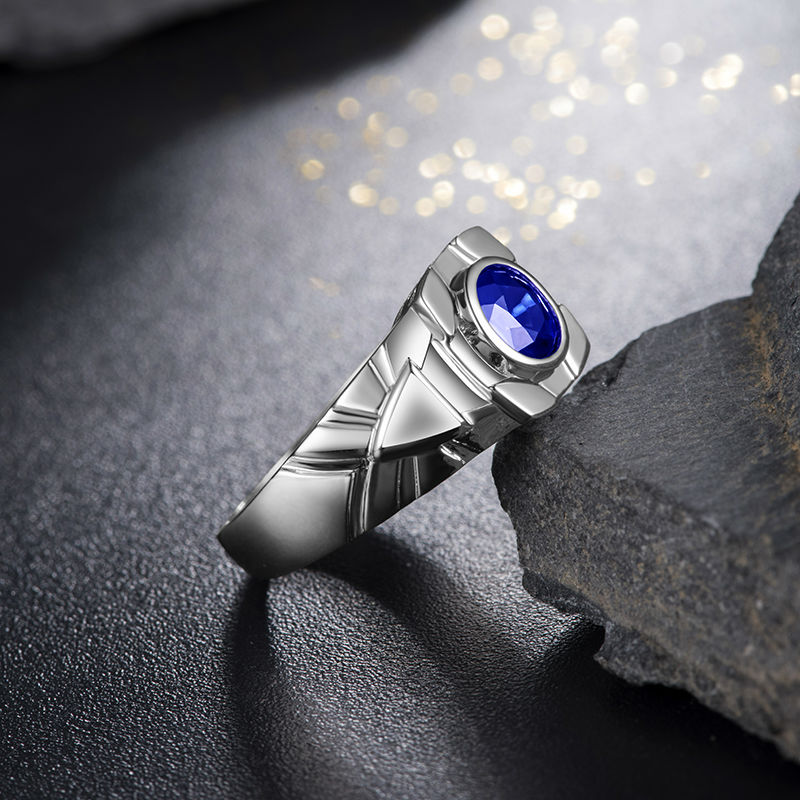 natural cut blue white diamond wedding item engagement gold rings princess genuine sapphire myray