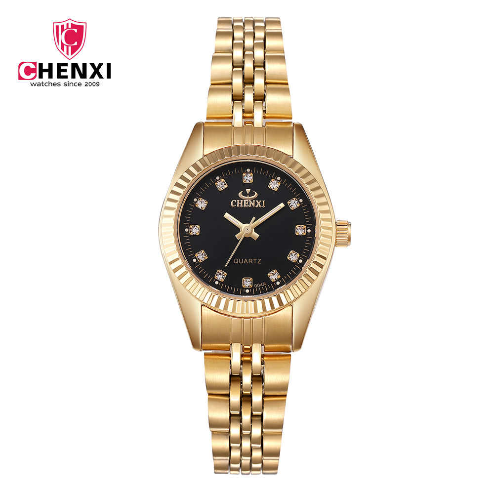 CHENXI Luxury Gold Women Watch Minimalism Golden Dress Wristwatch for Lady Top Brand Narrow Strap Stainless Steel Waterproof