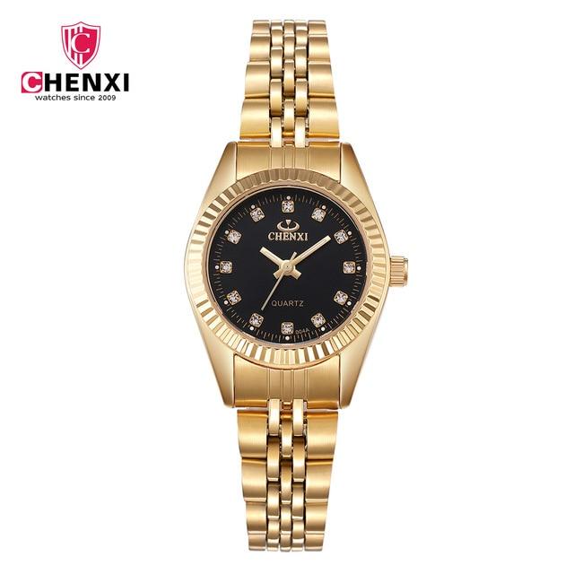 CHENXI Luxury Gold Women Watch Minimalism Golden Dress Wristwatch for Lady Top B
