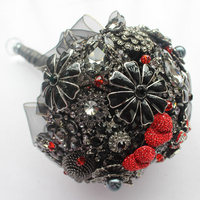EMS free shipping 2017 black and red wedding bouquet / bridal jewelry holding flowers wedding custom heart shaped bouquet bridel