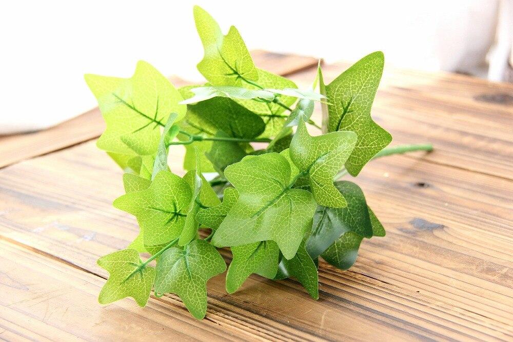 7 ramas artificiales falso flor hoja verde plantas for Plantas ornamentales artificiales