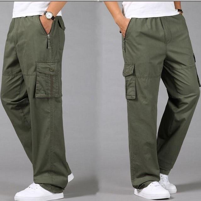 486bf9aa81f2e Plus size casual loose men Cargo pants Military Safari Style male trousers  cotton Elastic Waist long trousers L-4XL 5XL pockets