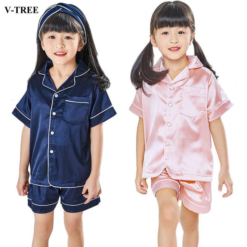 Kid Boys Girls Silk Pajamas Long Sleeve Sleepwear Night Wear Set 2Pcs 3-10T UK