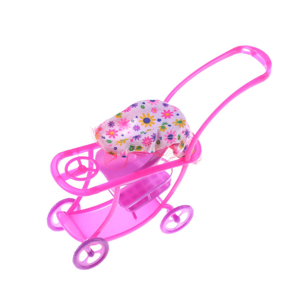 Mini Baby Walker Stroller Carriages Shopping Cart Dolls For Mini Dolls Children Girl Furniture Doll Kids Toy Dollhouse Furniture
