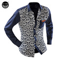 2017 Men'S Fashion Men Shirt Floral Blue And White Long-Sleeved Leisure Slim Square Collar Long-Sleeved Shirt Single-Breasted