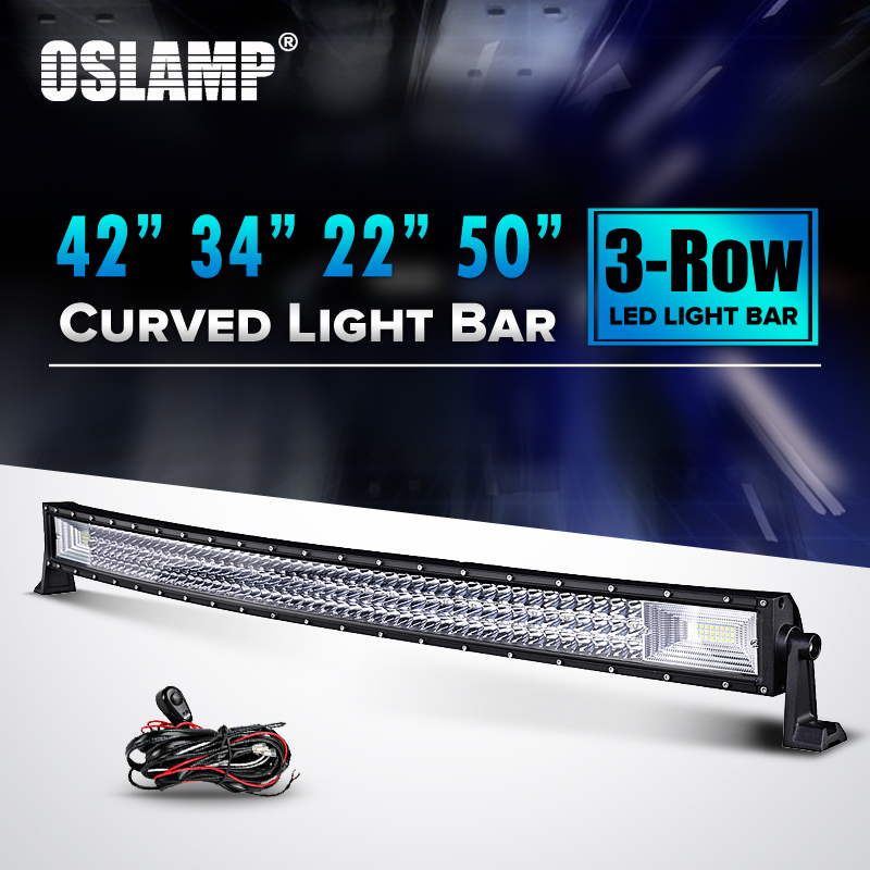 Oslamp 22 34 42 50 Curved LED Light Bar 12V Combo Triple Row Led Work Light Car SUV ATV PickUp Truck Camber Led Bar Offroad 1pcs 120w 12 12v 24v led light bar spot flood combo beam led work light offroad led driving lamp for suv atv utv wagon 4wd 4x4