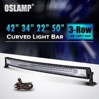 Oslamp 22 34 42 50 Curved LED Light Bar 12V Combo Triple Row Led Work Light
