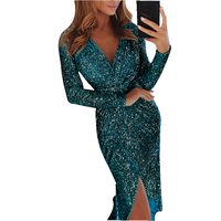 Womens Autumn Winter Sexy Deep V Neck Party Dresses Front High Slit Long Sleeve Glitter Sequined Mid Dress Plus Size XXL