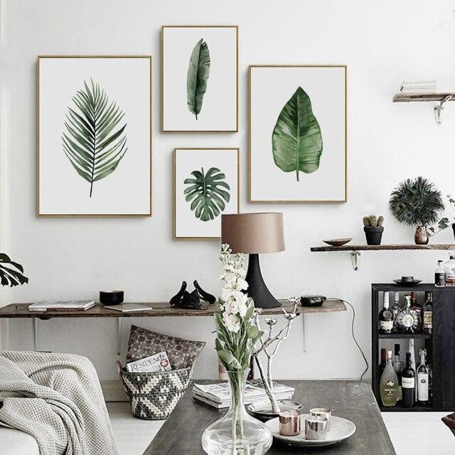 Elegante Poëzie Groene Plant Bladeren Aquarel Canvas Schilderij ...