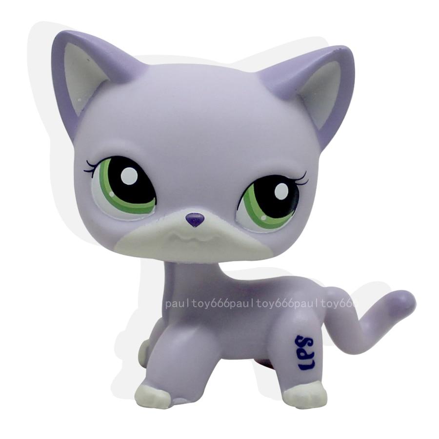 Littlest Pet RARE Purple Short Hair Cat Green Eyes Toy Lps