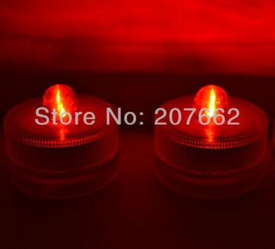 48 шт./лот беспламенного свеча свет погружной водостойкий светодиодная свеча-таблетка огни батарея работает Свадебная ваза - Цвет: red