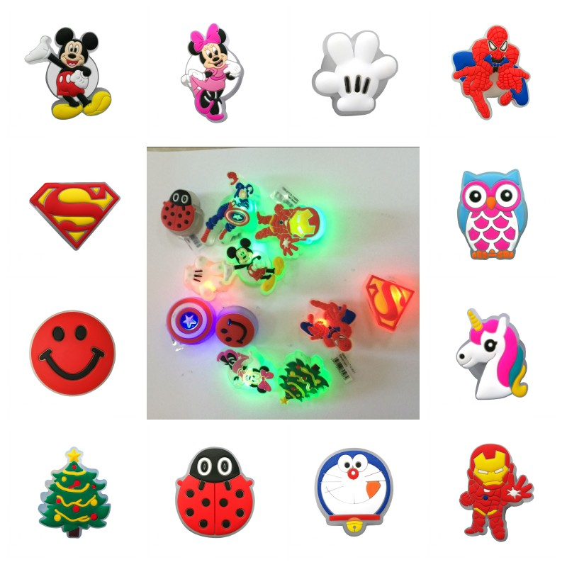 New 1pcs LED Shoe Charms Avenger Mickey Unicorns Lighted Shoe Buckles Cool Accessories Fit Bracelets Shoes Croc JIBZ Kids Gift