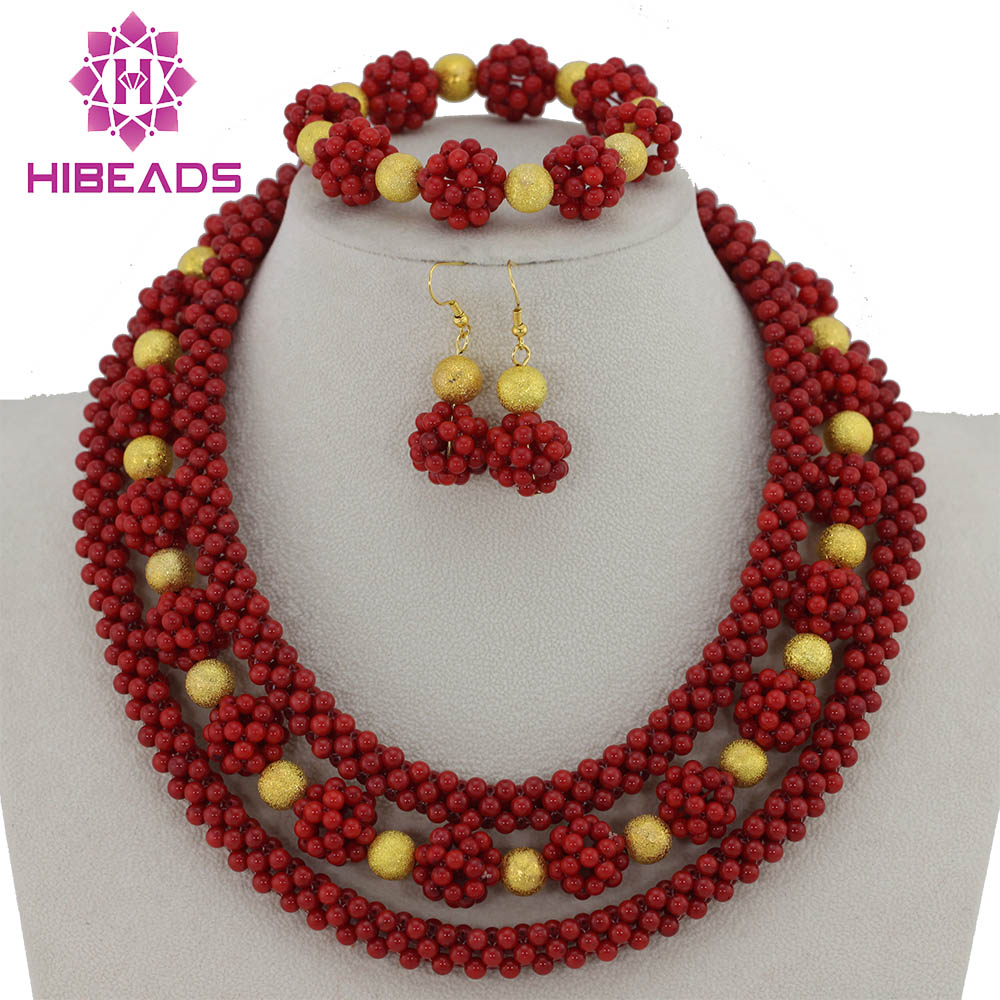 2017 Red Coral Bead Sets Jewelry Latest Design Nigerian Beads Necklace Set Bridal Jewelry Set Free Shipping CNR033