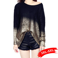 Plus Size Golden Knitted Pullover Back Loose Oversized Sweaters Women Jumpers Autumn Sweater Mujer European Long Sleeve