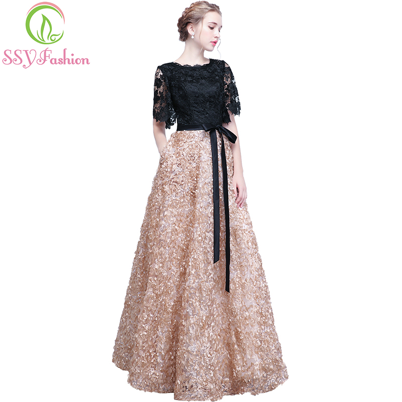 SSYFashion New Evening Dress The Bride Elegant Banquet Black With Khaki Contrast Color Lace Floor-length Long Prom Party Gowns
