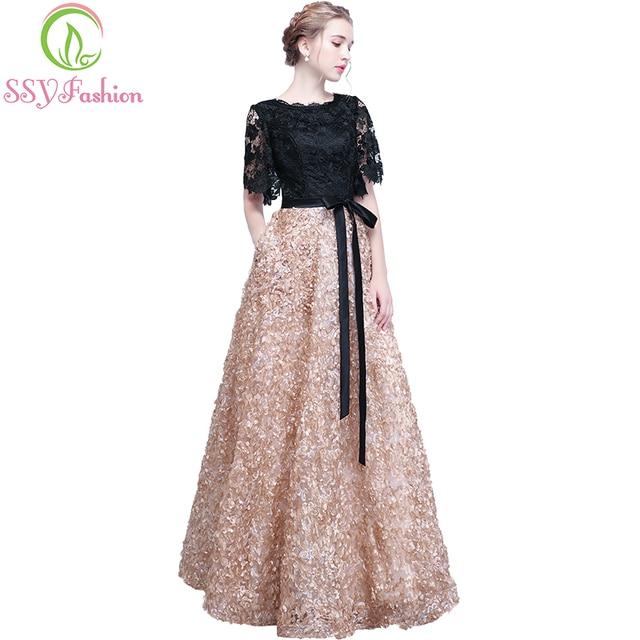 فستان سهرة جديد من SSYFashion العروس أنيق مأدبة أسود مع لون كاكي متباين دانتيل طول الأرض رداء حفلات طويل للحفلات الراقصة