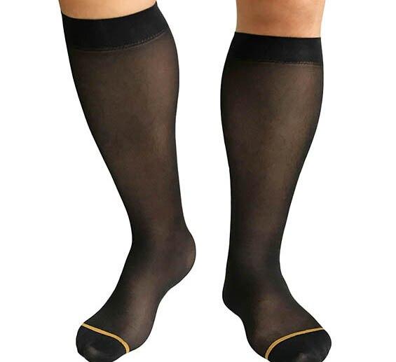 2017 New Style Mens Sheer Socks Ultra Thin Nylon Socks Sexy with Golden Line Blue Line Gay formal dress suit socks Sheer Sox