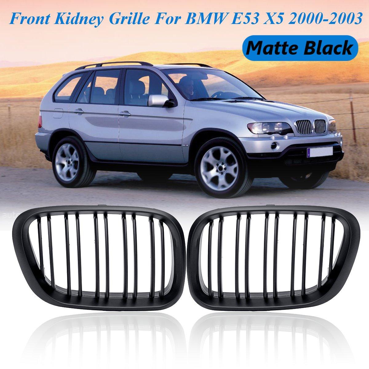 Paire de grilles de calandre noir mat pour BMW E53 X5 2000 2001 2002 2003