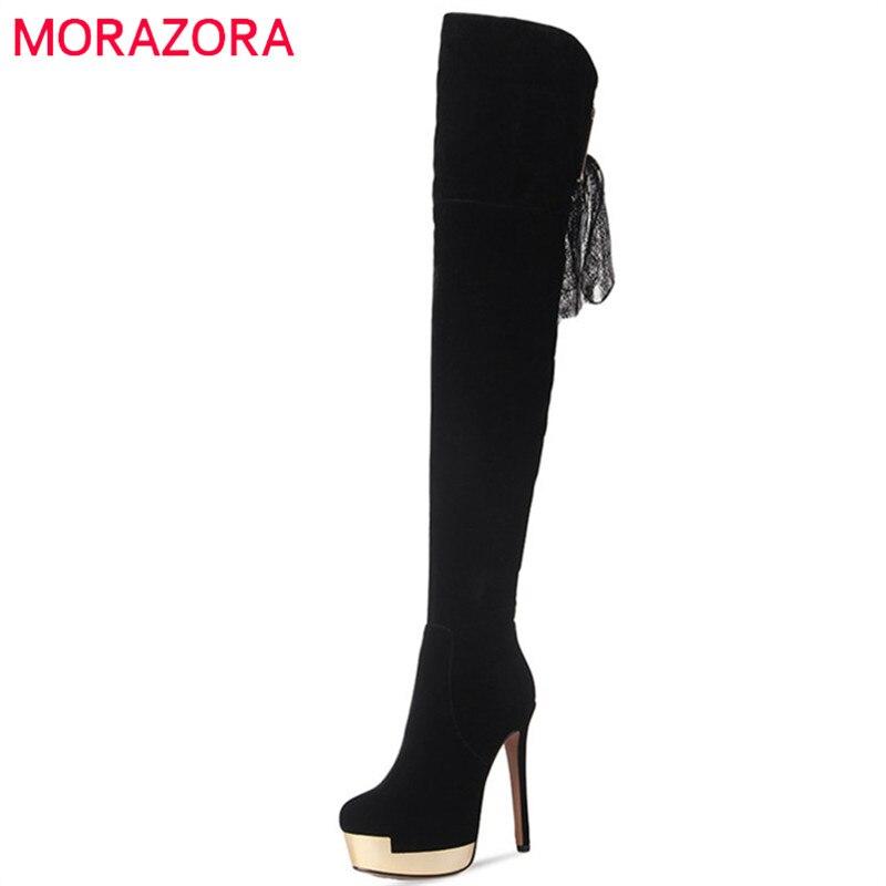 MORAZORA Spuer heels schuhe frau über die knie stiefel in herbst winter plattform stiefel weibliche mode elegante flock solide-in Überknie-Stiefel aus Schuhe bei  Gruppe 1