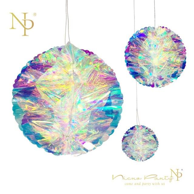 Nicro Rainbow Party Decoration Film Glowing Honeycomb Ball DIY Color  Christmas New Year Shop Window Homes Decor Supplies #Hon01