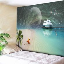 Moon Beach Tapestry Galaxy Wall Hanging Coconut Wall Tapestries Art Carpet Blanket Yoga Mat Decorative Tapestry for Home 3 Size hot fashion women wall hanging tapestry beach towel home decorative tapestries yoga blanket wall tapestry