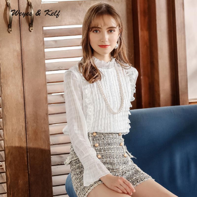 Weyes & Kelf hiver manches évasées Blouses solides dames chemises en mousseline de soie 2018 automne à manches longues hauts femmes Blouses Mujer