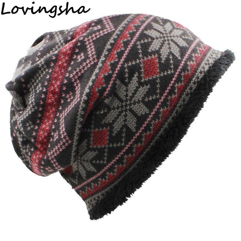 LOVINGSHA Skullies Beanies Girl Fashion Scarf Brand Autumn Winter Vintage Design Dual-use Hats For Women Warm Ladies HT061