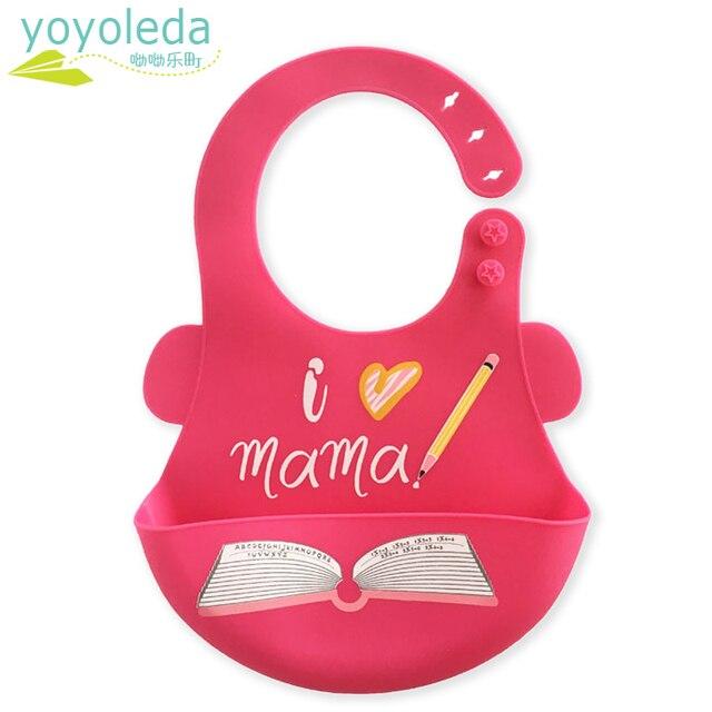 Cartoon Soft Fold Adjustable Baby Silicone Feeding Bib Girl Boy Stuff Silica Gel Waterproof Bibs Baby Silicone Bib Unisex