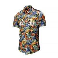 New Mens Summer Short Sleeved Dress Shirt Casual Tops Slim Casual 3D Print Slim Fashion Male Shirt Luxury Men Shirt XXL