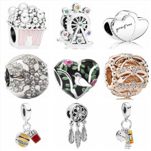 Btuamb New Arrival Enamel Love Heart Bird Flower Ferris Wheel Charm Beads Fit Pandora Bracelets & Bangles for Women DIY Making(China)