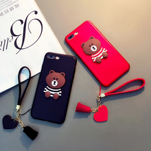 Soft Cover for Iphone X 8 5 5s Se 6 6s 7 Samsung Galaxy S6 S7 Edge S8 Plus Note 8 Brown Bear Tassels Heart Hand Strap Lady Case