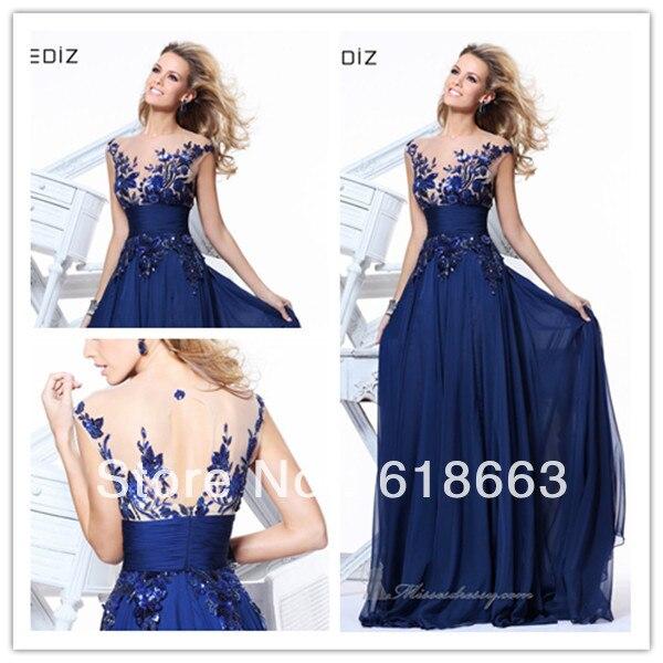 LE0158 Modest Royal Blue Long A Line Party Dress Evening ...