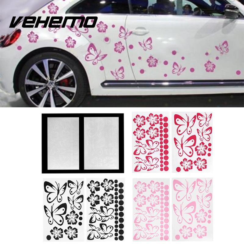 VEHEMO Car Sticker Removable PVC Flower Butterfly Decal Decor Wall Room Toilet Decoration Chinese paper cutting elements aomei 0168 bunny pattern pvc decor toilet sticker black large size
