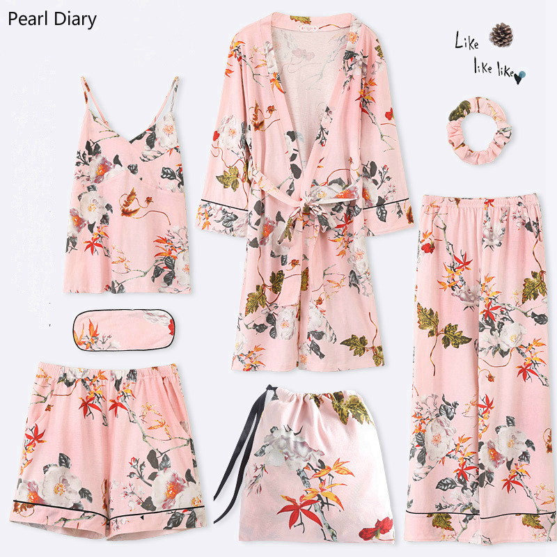 2019 Women Pajamas 7 Pieces Cotton Sleepwear Pijama Silk Home Wear Home Clothing Embroidery Sleep Lounge Pyjama with Chest Pads