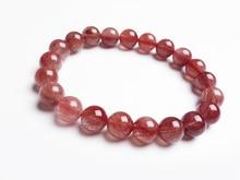 9mm Natural Red Hair Rutilated Quartz Crsytal Bracelet Women Men Energy Stone Friend Round Beads Fashion Jewelry AAAAA