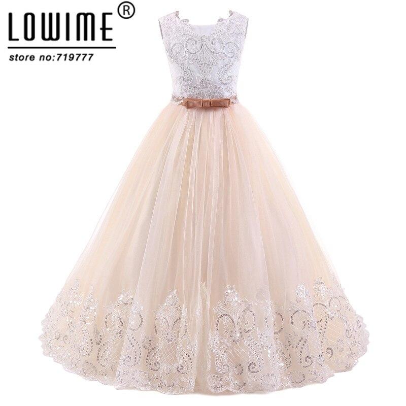 Lowime Payetli Aplike Çiçek Kız Elbise Custom Made Kız Yay Kemer Ile Balo Elbise Vestido Daminha Ucuz Kız Elbise