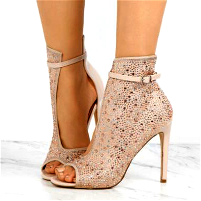 Ladies Rhinestone Embellished Stiletto Heels Wedding Shoes Woman Crystal  Drilled Side Cut out Peep Toe Ankle f4e34425329d