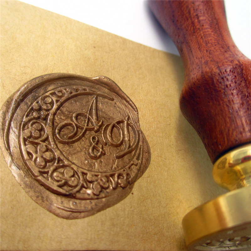 DIY double letter moon Initials customize logo Name Box set personalized Letter/Sealing Wax /wedding Wax Seal Stamp Gold  Custom high qualiy customize embossing stamp your logo personalized embossing seal letter head setting wedding envelope card custom