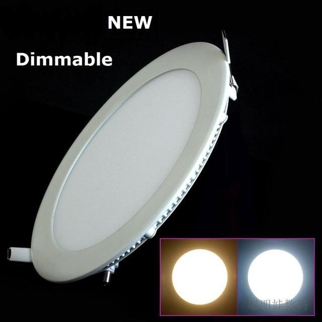 Envío libre de DHL 10pcs / lot Dimmable Led Panel de luz de techo 3W 4W 6W 9W 12W 15W 25W con adaptador AC110-220V Ulthra delgado