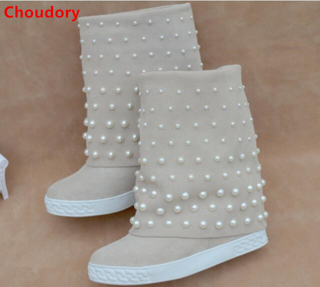 Beige/black suede white pearls studded women ankle boots fall winter wedge heel 8CM height increasing slip-on fashion boots