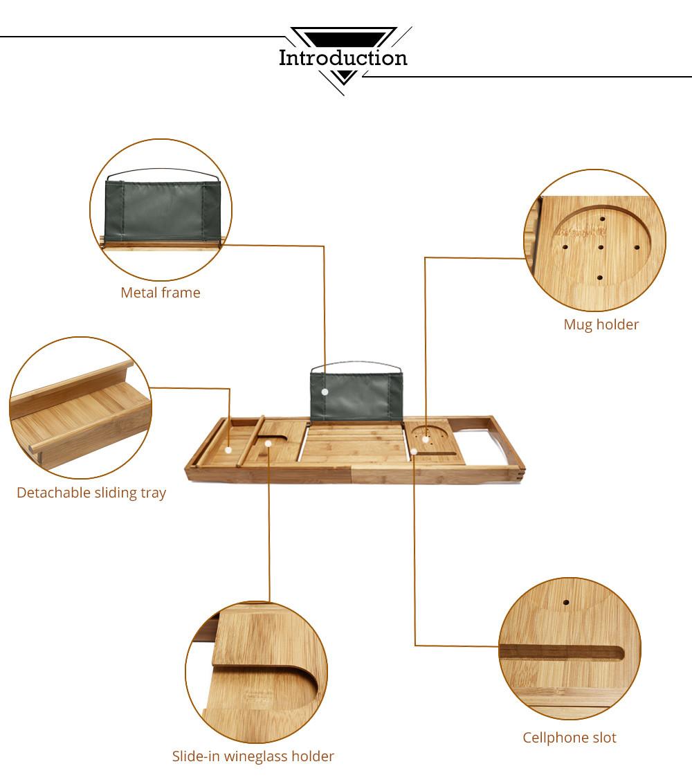 100% Natural Bamboo Bathtub Caddy Tray Organizer Extendable bathroom ...