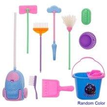 9Pcs/Set Dollhouse Furniture Cleaning Tools Set Broom Dustpan Vacuum Cleaner Wastebasket for 29cm Dolls 1/6 BJD Doll Toys цены