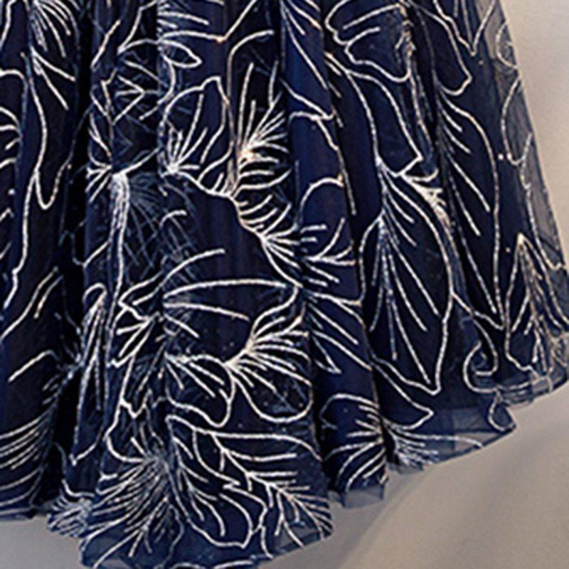 Elegant Dark Blue V Neck A Line Sleeveless Zipper Up Dress 7