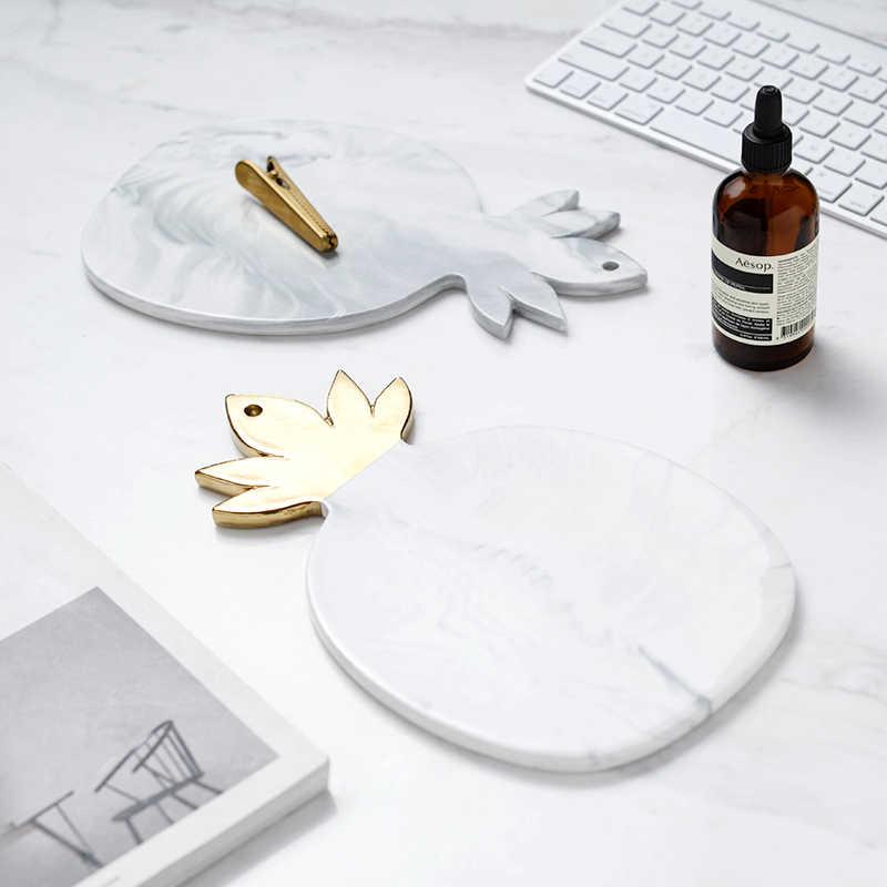 Nordic Minimalistische Wind vergulde Marmer Keramische Ananas Platte Plaat Ontvangen Lade Westerse Voedsel Kussen Plaat Zoete Aambeeld