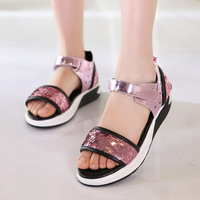 Fashion Summer Kids Sandals For Baby Hook Loop Girls Sandals PU Leather Children Beach Shoes Glitter