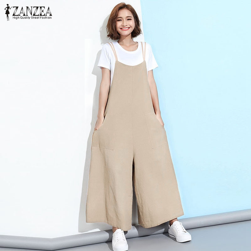 ZANZEA 2019 New Summer Rompers Women Jumpsuits  Plus Size Sleeveless Straps Pockets Solid Wide Leg Retro Full Length Overalls